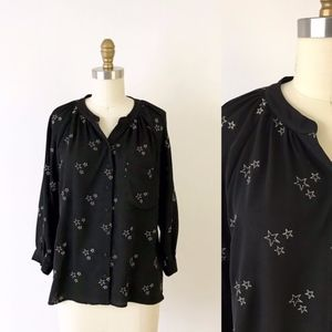 Greylin Embroidered Star Shirt Black Draped Top G7